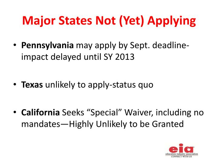 Major States Not (Yet) Applying