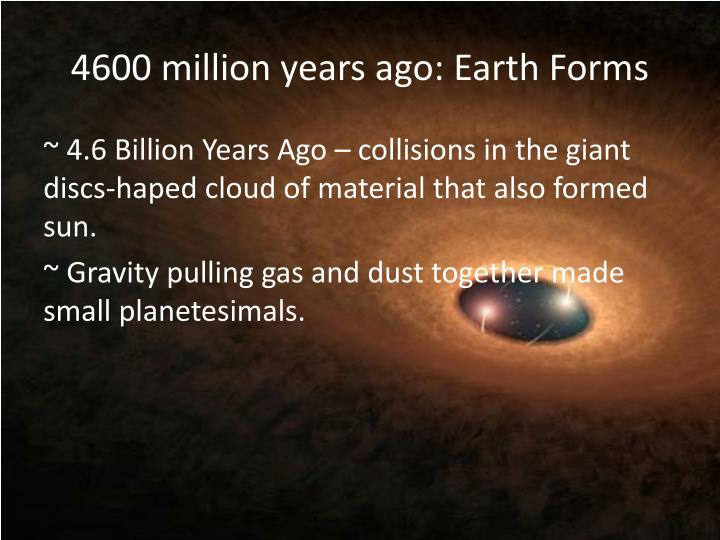 4600 million years ago: Earth Forms