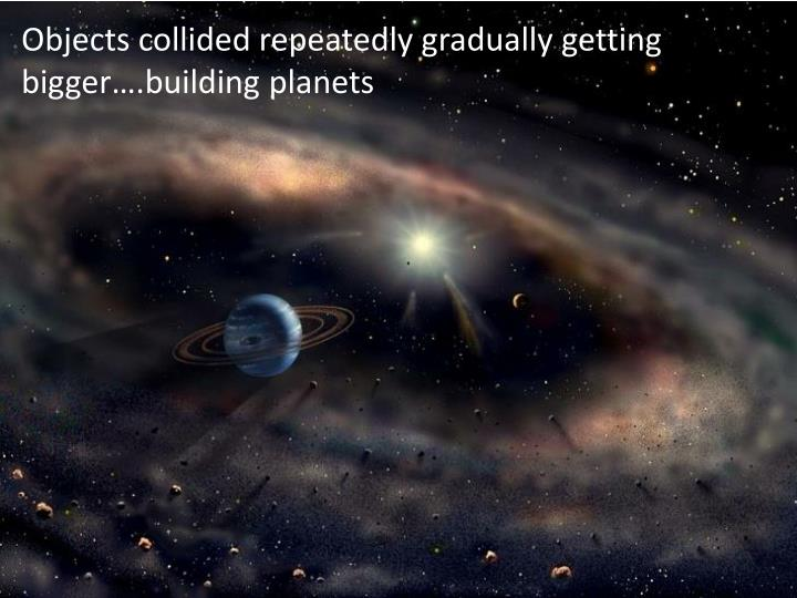 Objects collided repeatedly gradually getting bigger….building planets