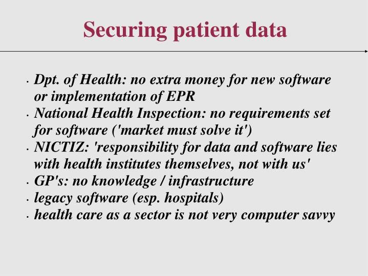 Dpt. of Health: no extra money for new software or implementation of EPR