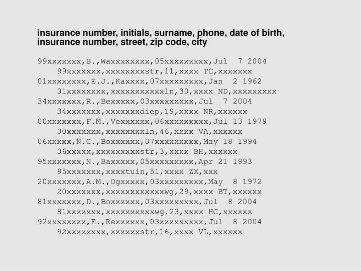 insurance number, initials, surname, phone, date of birth,       insurance number, street, zip code, city