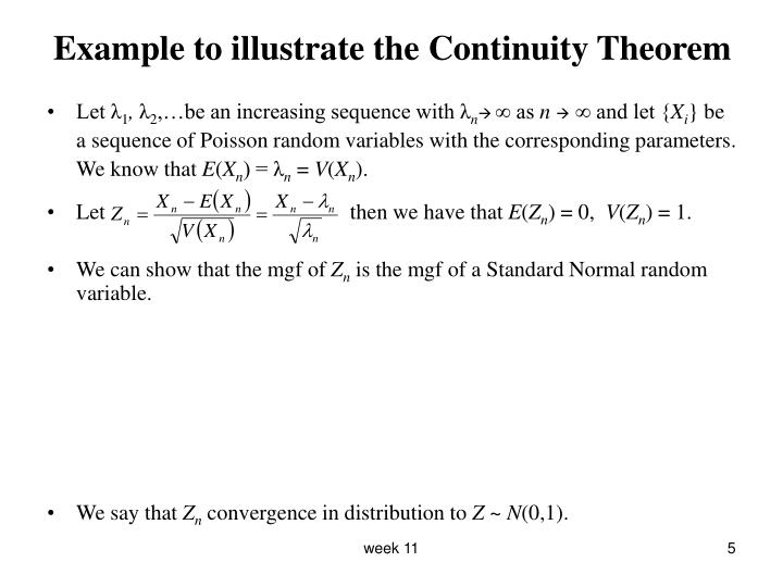 Example to illustrate the Continuity Theorem