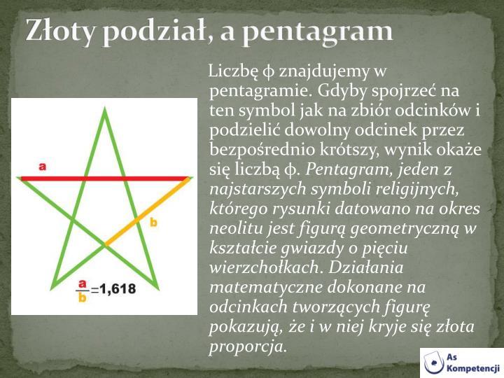 Złoty podział, a pentagram