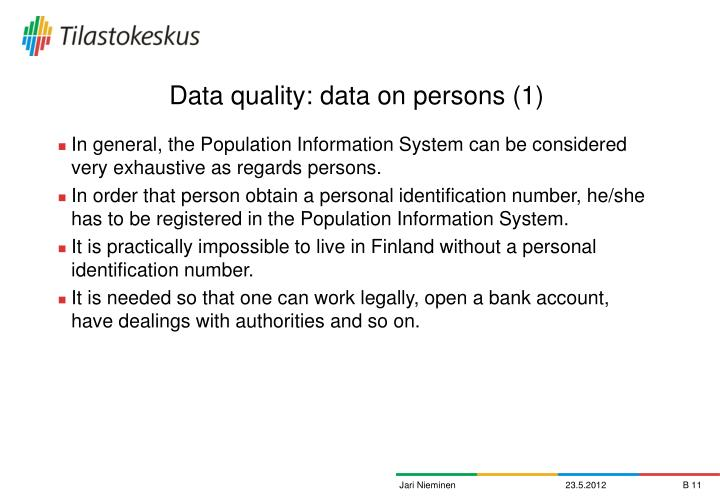 Data quality: data on persons (1)