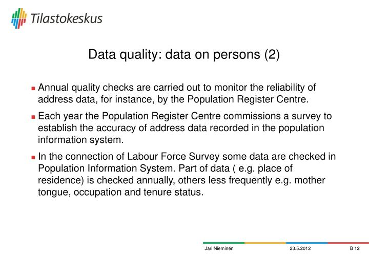 Data quality: data on persons (2)