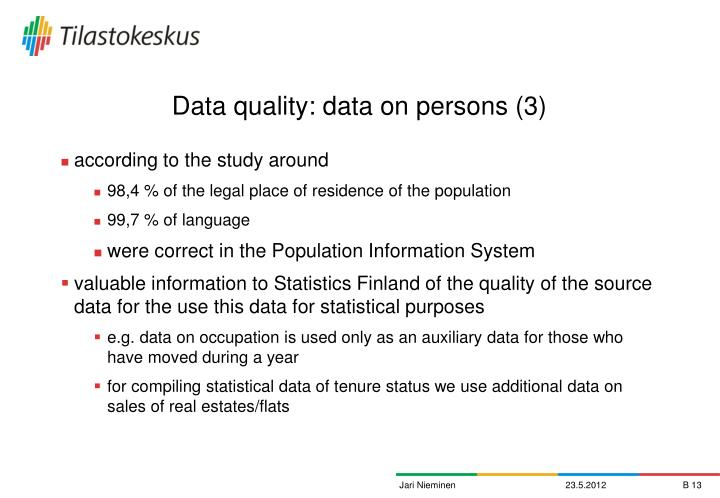 Data quality: data on persons (3)