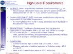 high level requirements