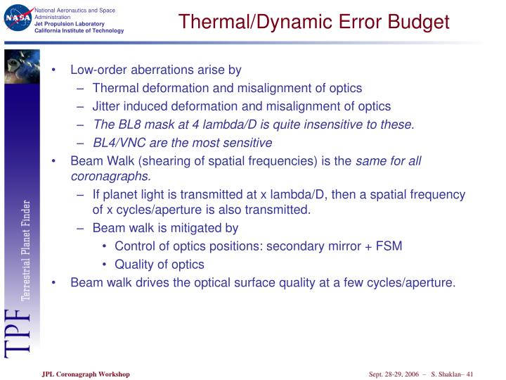Thermal/Dynamic Error Budget
