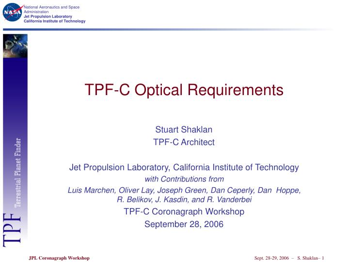 Tpf c optical requirements