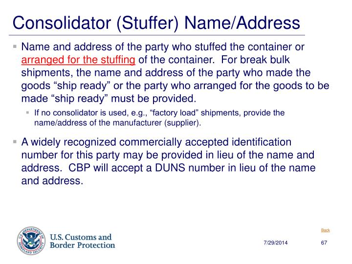 Consolidator (Stuffer) Name/Address