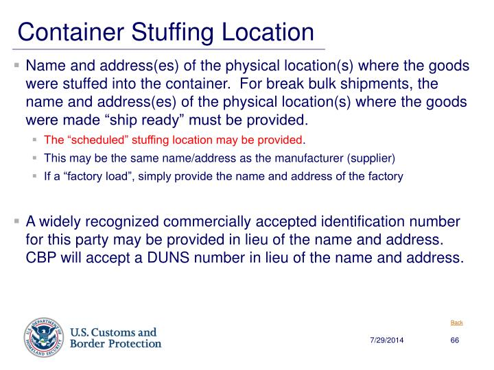 Container Stuffing Location