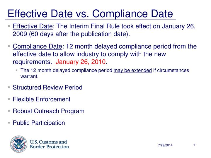 Effective Date vs. Compliance Date