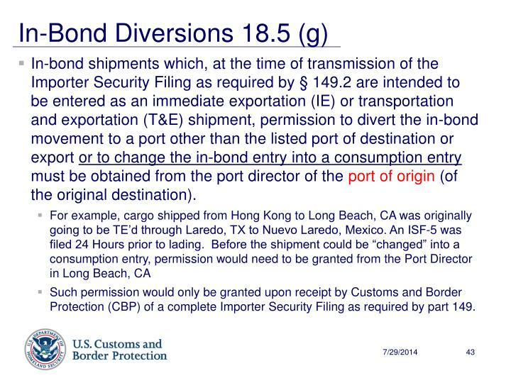 In-Bond Diversions 18.5 (g)