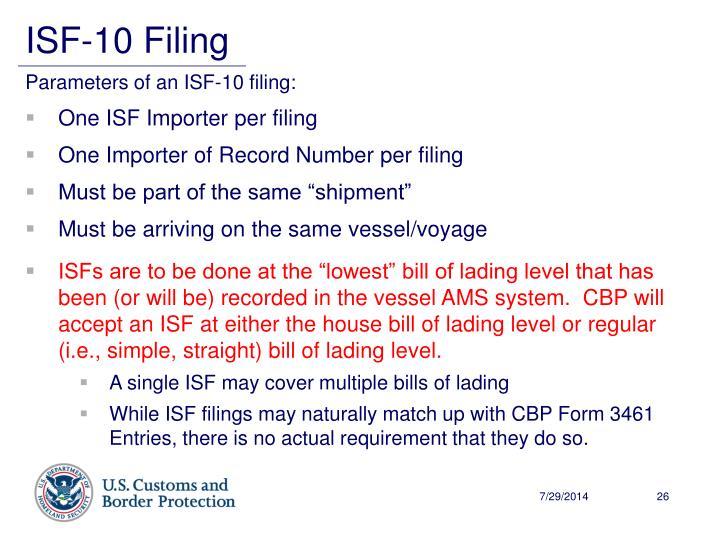 ISF-10 Filing