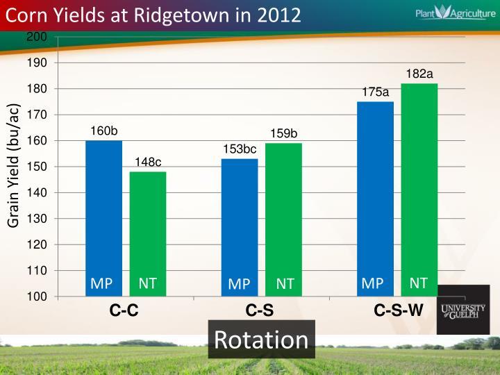 Corn Yields at Ridgetown in 2012