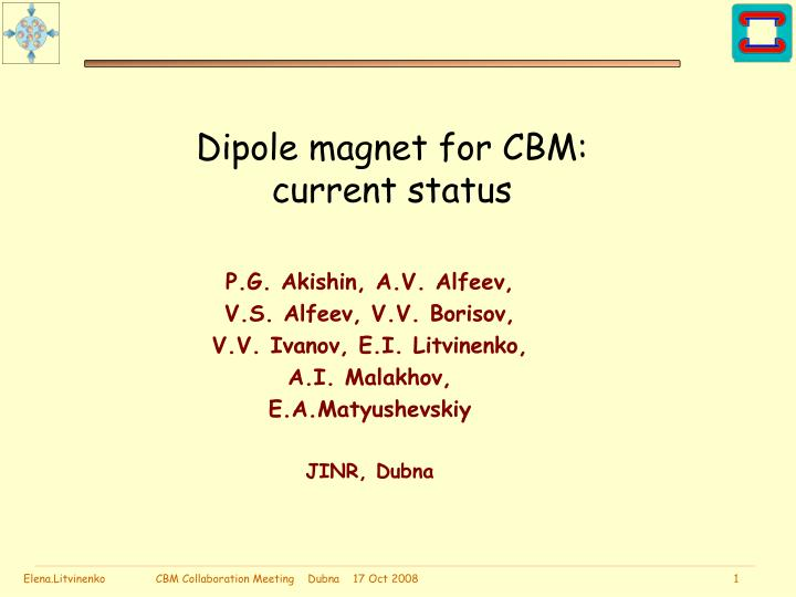 Dipole magnet for cbm current status