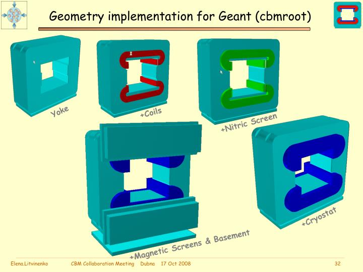 Geometry implementation for Geant (cbmroot)