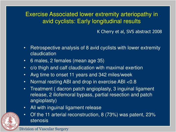 Exercise Associated lower extremity arteriopathy in avid cyclists: Early longitudinal results