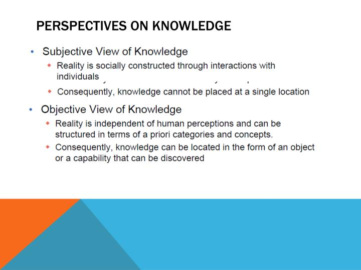 PERSPECTIVES ON KNOWLEDGE