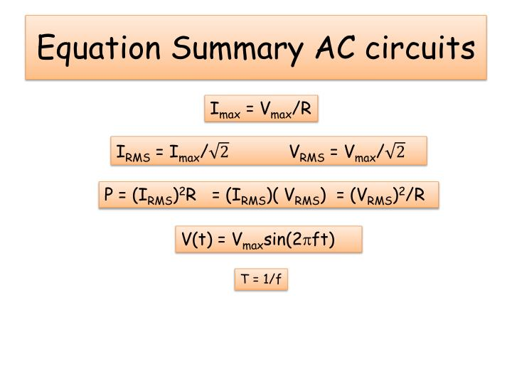 Equation Summary AC circuits