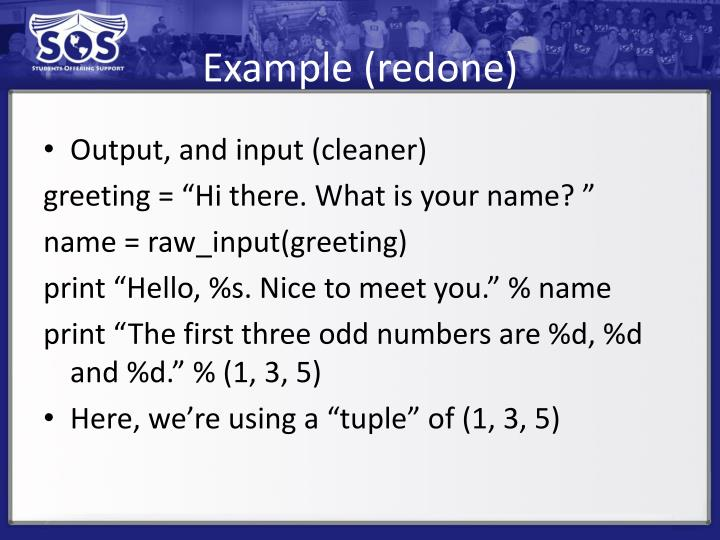 Example (redone)
