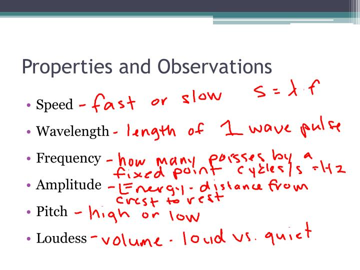 Properties and Observations