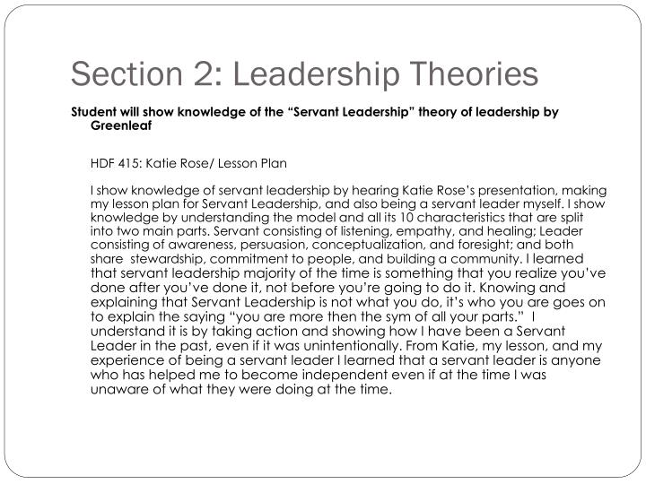 Section 2: Leadership Theories