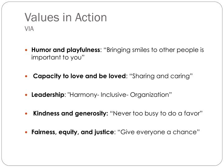Values in Action