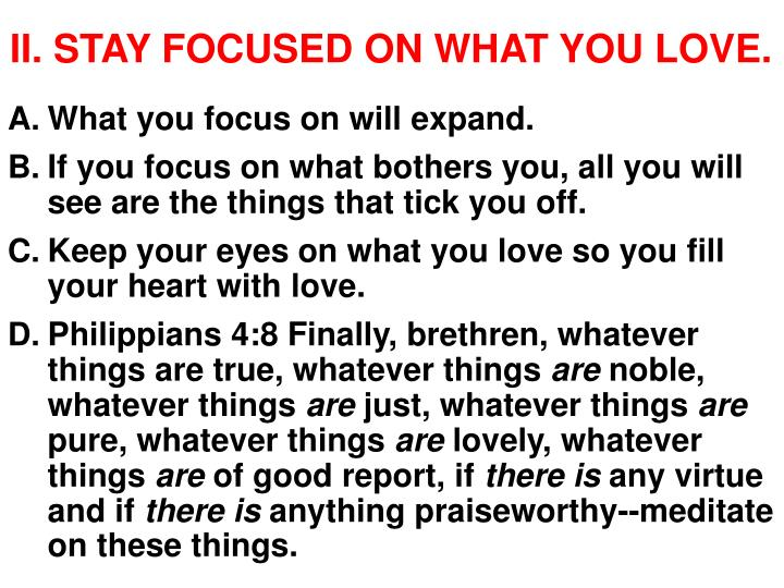 II. STAY FOCUSED ON WHAT YOU LOVE.