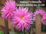 tonight s sermon heaven holds all to me