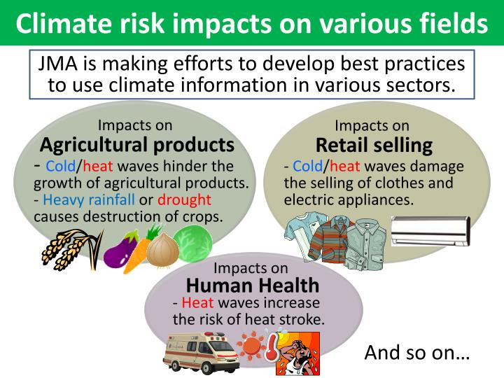 Climate risk impacts on various fields