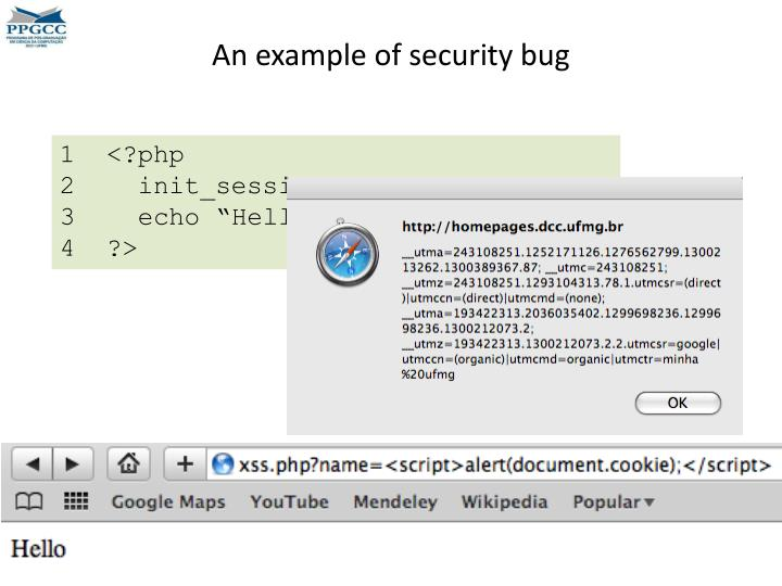 An example of security bug