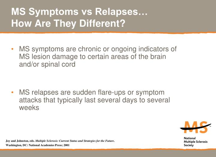 MS Symptoms vs Relapses…