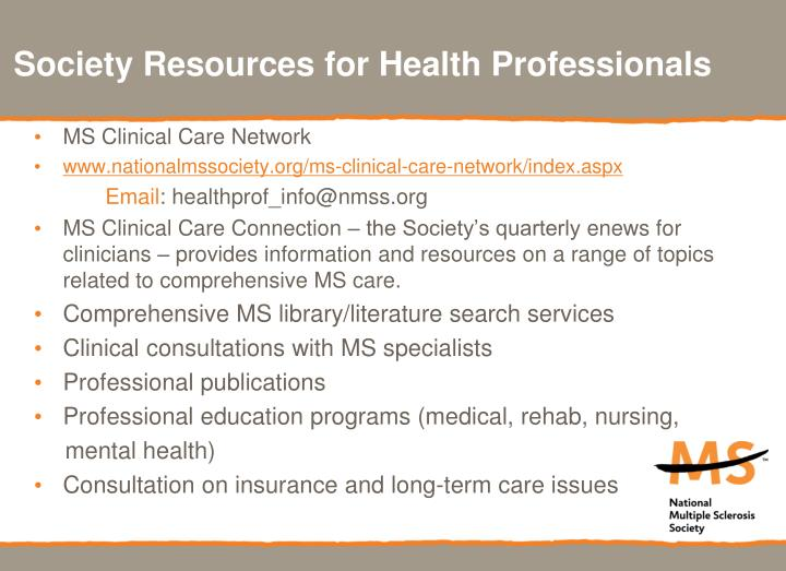 Society Resources for Health Professionals