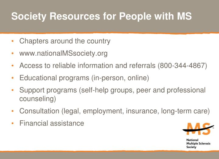 Society Resources for People with MS