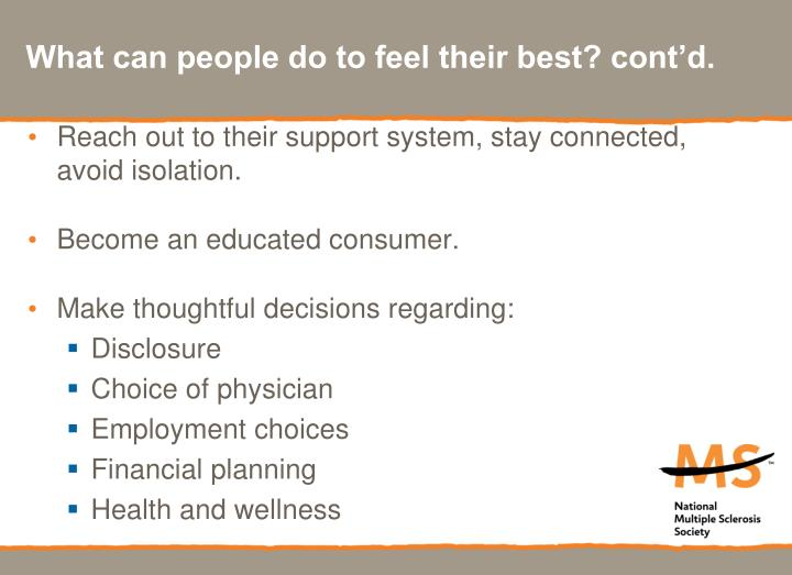 What can people do to feel their best? cont'd.
