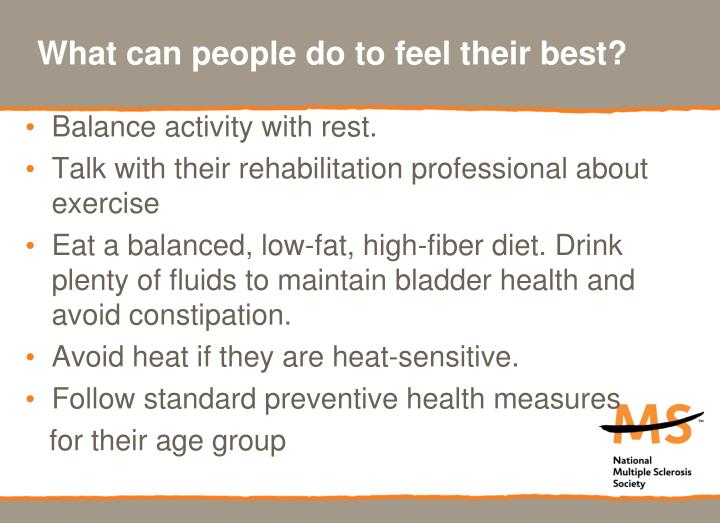 What can people do to feel their best?