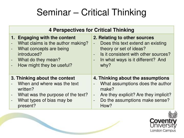 Seminar – Critical Thinking