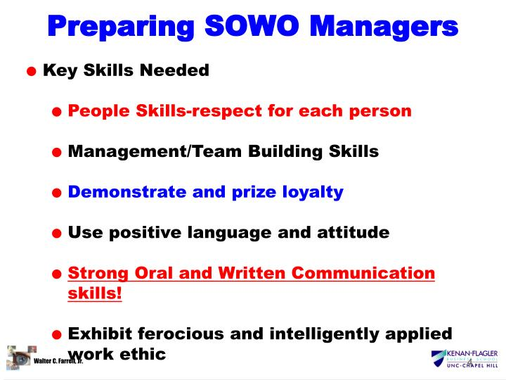 Preparing SOWO Managers