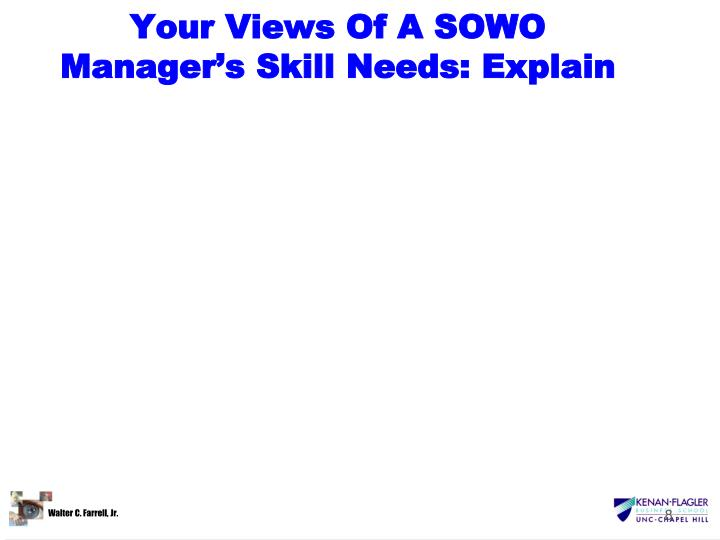 Your Views Of A SOWO Manager's Skill Needs: Explain