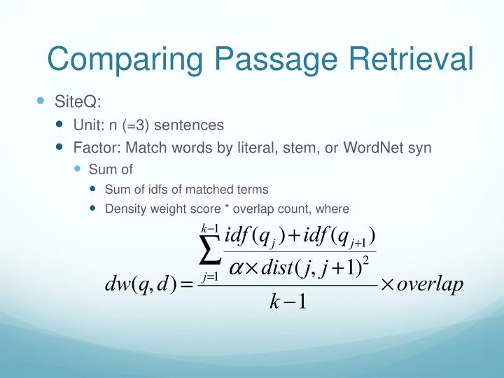 Comparing Passage Retrieval