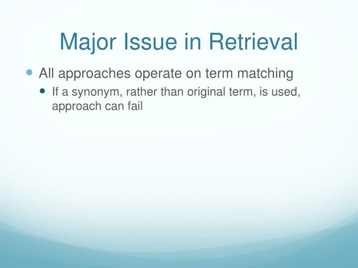 Major issue in retrieval
