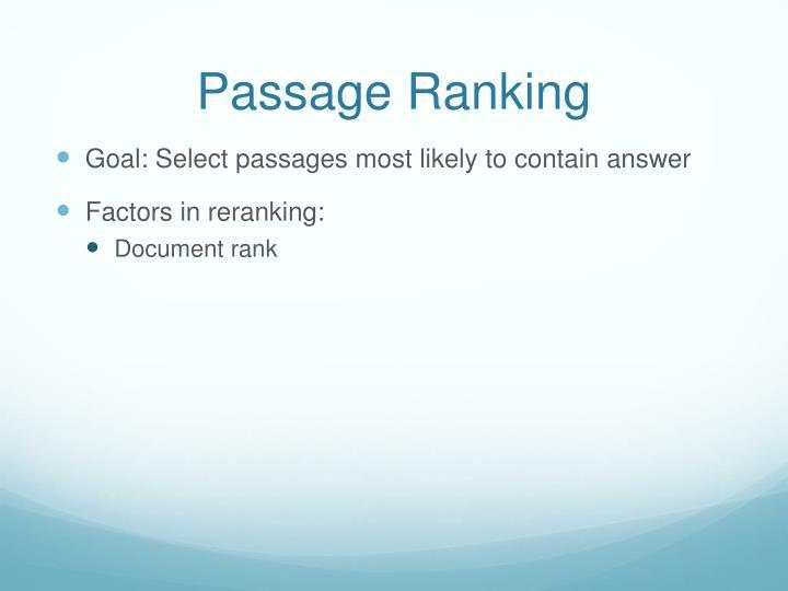 Passage Ranking