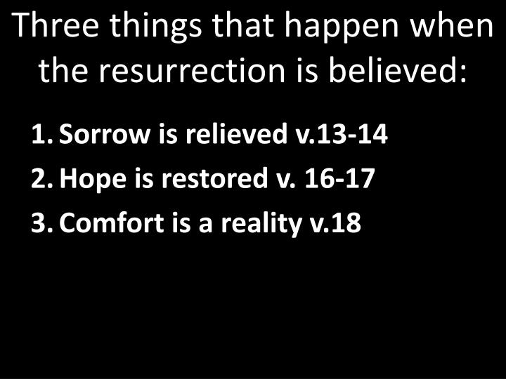 Three things that happen when the resurrection is believed: