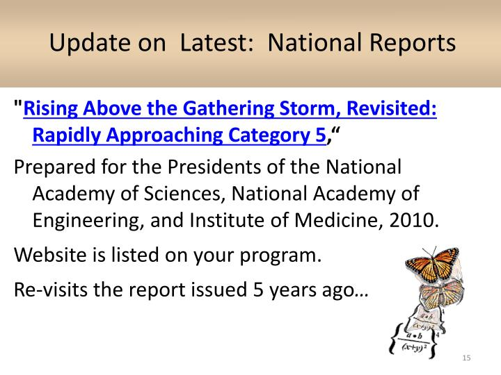 Update on  Latest:  National Reports