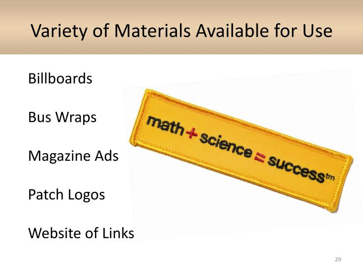 Variety of Materials Available for Use