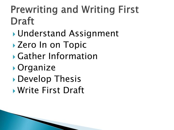 Prewriting and writing first draft
