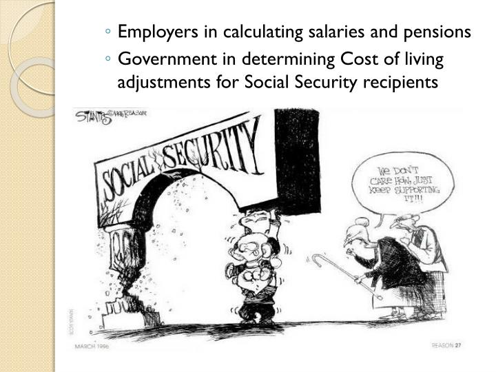 Employers in calculating salaries and pensions