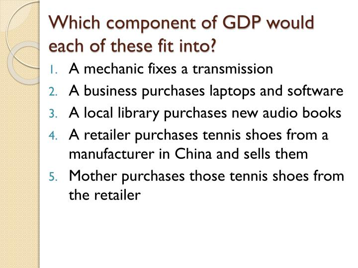 Which component of GDP would each of these fit into?