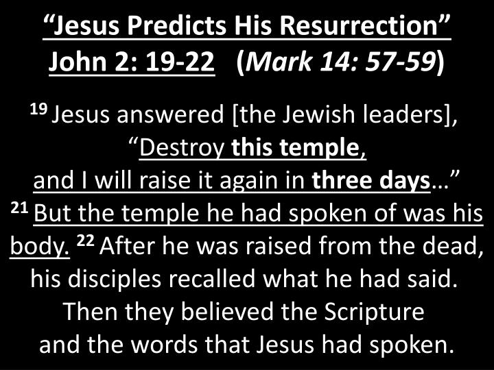 """Jesus Predicts His Resurrection"""